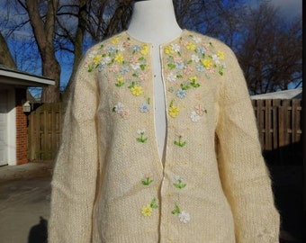 b669673abe 70s Cyn Les clasp front cream white mohair floral applique cardigan sweater  size S M vtg vintage