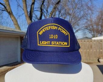 2716204b 80s 90s Whitefish Point Light station graphic navy blue mesh snapback  trucker hat ball cap vtg vintage great Lakes Michigan lighthouses