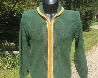 3f52db7c61 70s Sportswear plain blank zip down knit Green cardigan Sweater tag size M  vtg vintage shawl collar yellow white trim simple minimal basic