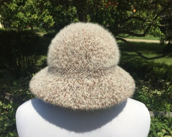 best sneakers ae20b 9a101 80s-90s Kangol Design fuzzy angora feathered Hat Cap brown beige made in  England plain blank furry vtg vintage bucket floppy brim boho