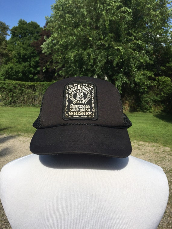 33512cdeb 80s-90s Jack Daniels logo patch graphic Black mesh snapback baseball Hat  Trucker Cap vtg vintage