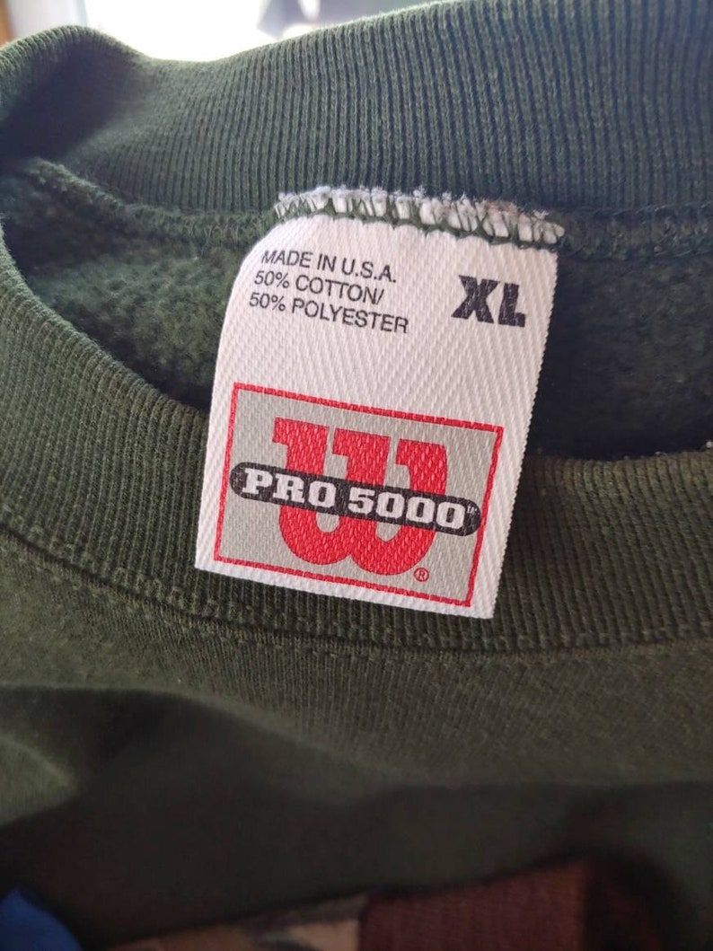 90s Wilson Pro 5000 small logo stitched graphic green pullover sweatshirt size LXL made in USA vtg vintage