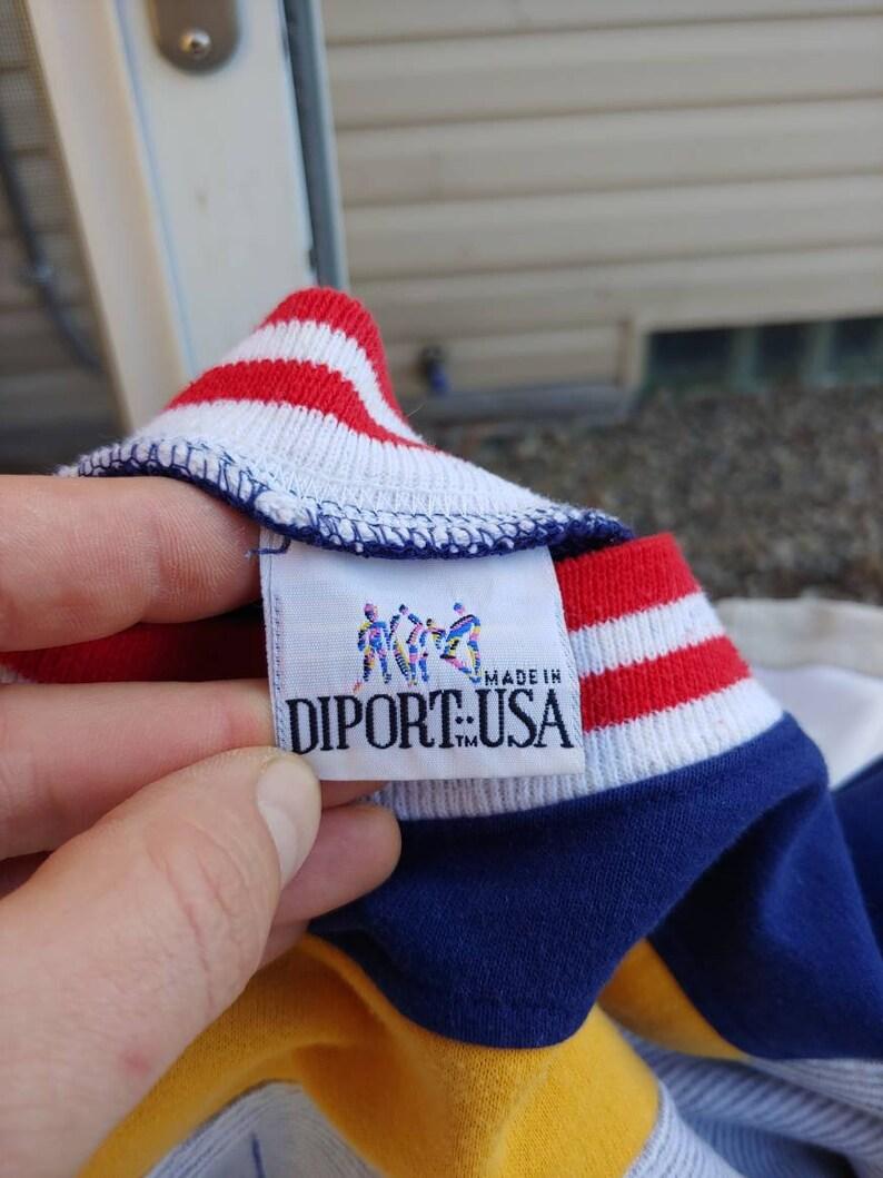 80s La Jolla California  sailboat graphic pullover sweatshirt size L vtg vintage colorblock gray red blue yellow striped