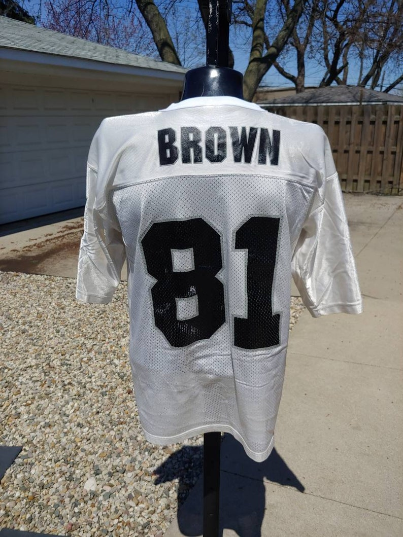 on sale 8608f 27f11 1995 Starter jersey Tim Brown Oakland raiders #81 white football jersey tee  size L/XL tag size 52 vtg vintage