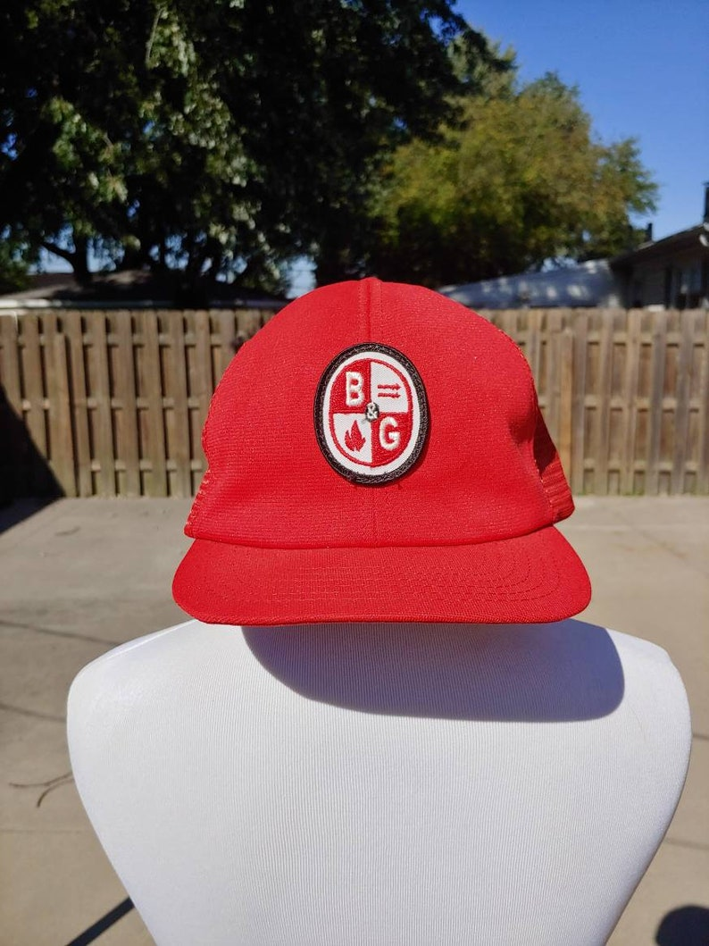 bc9df930 80s B & G stitched embroidered patch graphic Red baseball cap trucker hat  vtg vintage mesh snapback adjustable adult simple basic