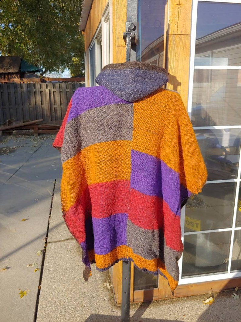 Vintage wool hooded Poncho bright colorful multicolored red brown purple orange south American style