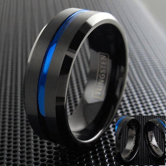 Black Tungsten Brushed Thin Blue Line Wedding Band Ring Personalized Ring