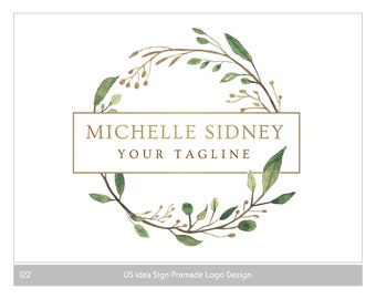 Vintage Design de Logo, Logo boutique, photographie Logo, Logo du Blog, rustique premade Logo, couronne de l'aquarelle, logos de la Nature, logo de botanique, Logos