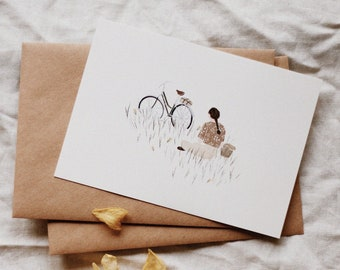 Flower Meadow Picnic with my Bicycle, Birthday Card, Greeting Card