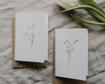 Mini Greeting Card Set Flowers ( two cards, two craft paper envelopes)