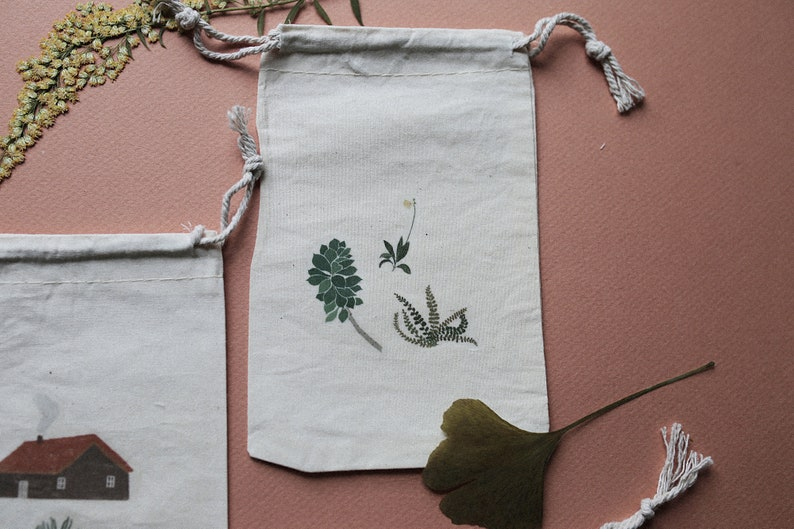 Fabric Bag Plants Totebag small Houses,Home Pouch