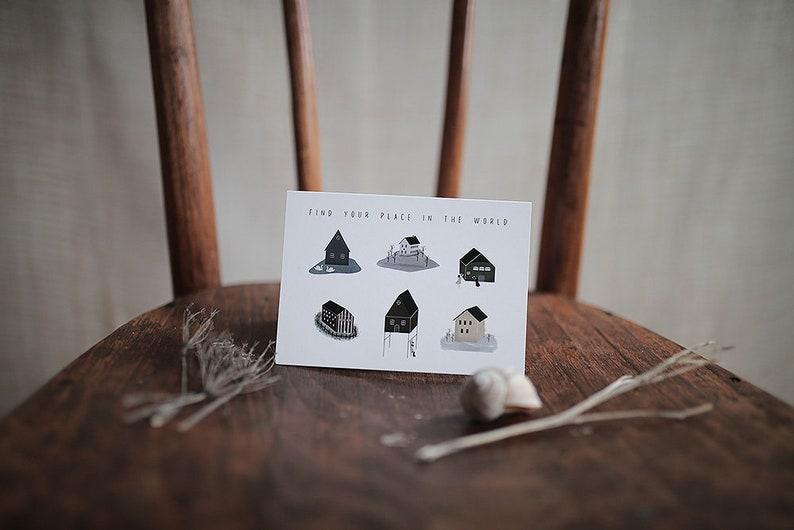 Find Your Place Postcard Greeting Card Houses Folded Card