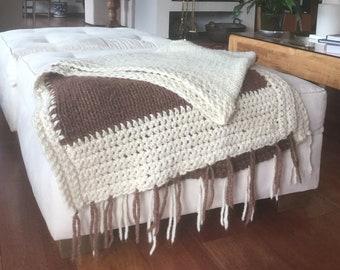 Natural wool coffee Fringe blanket