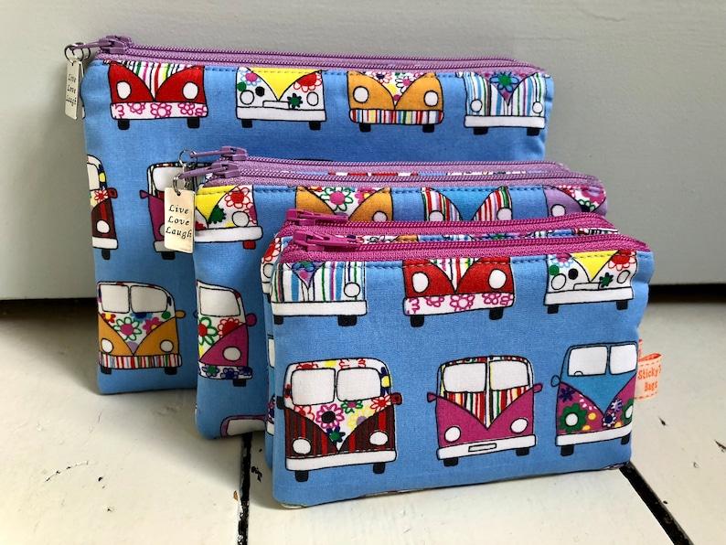 Blue camper van mini make up bag