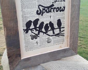 """Framed Original Vintage Dictionary Art """"The Sparrow"""""""