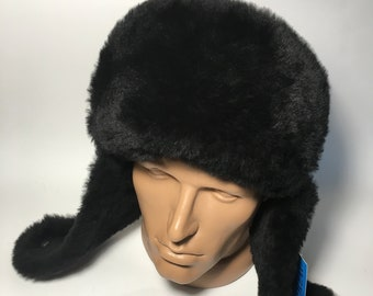 Gorgeous 100% Leather Real Sheepskin Genuine Leather Mens Winter Hat Bomber  Trapper Ushanka Hunting Hat Sizes L a5281eefdba