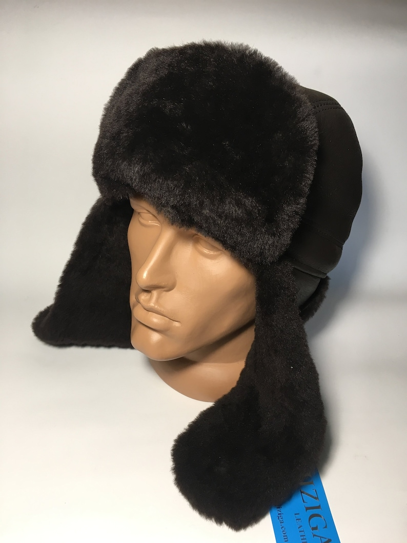 4c4830e64 Gorgeous 100% Leather Real Sheepskin Genuine Leather Brown Mens Winter Hat  Bomber Trapper Ushanka Hunting Hat Size XL