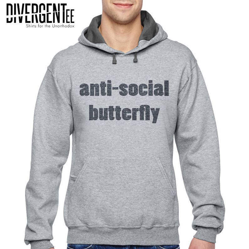 ccf282db7f2c Anti-social butterfly t shirt please go away I m