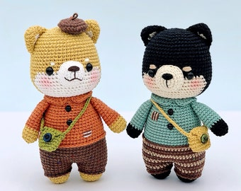 CROCHET PATTERN AMIGURUMI: Aki the shiba (English/Français/Espanol/Tieng Viet) , Crochet shiba inu
