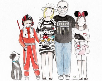 Family portrait custom illustration