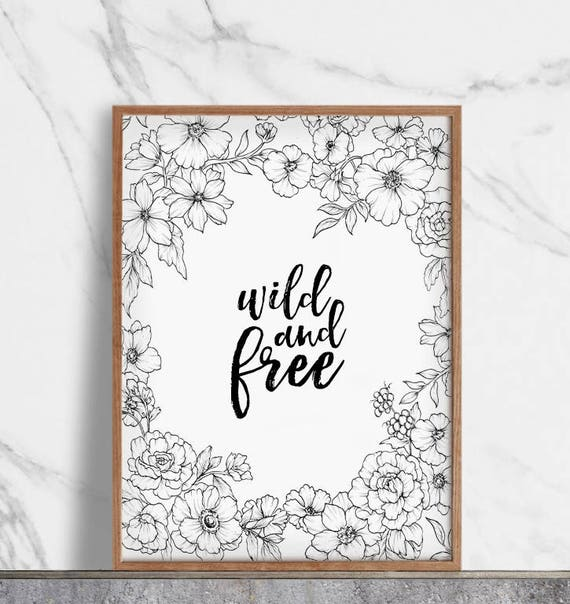 Scandinavian Decor Kitchen Prints Wild And Free Motivational Decor