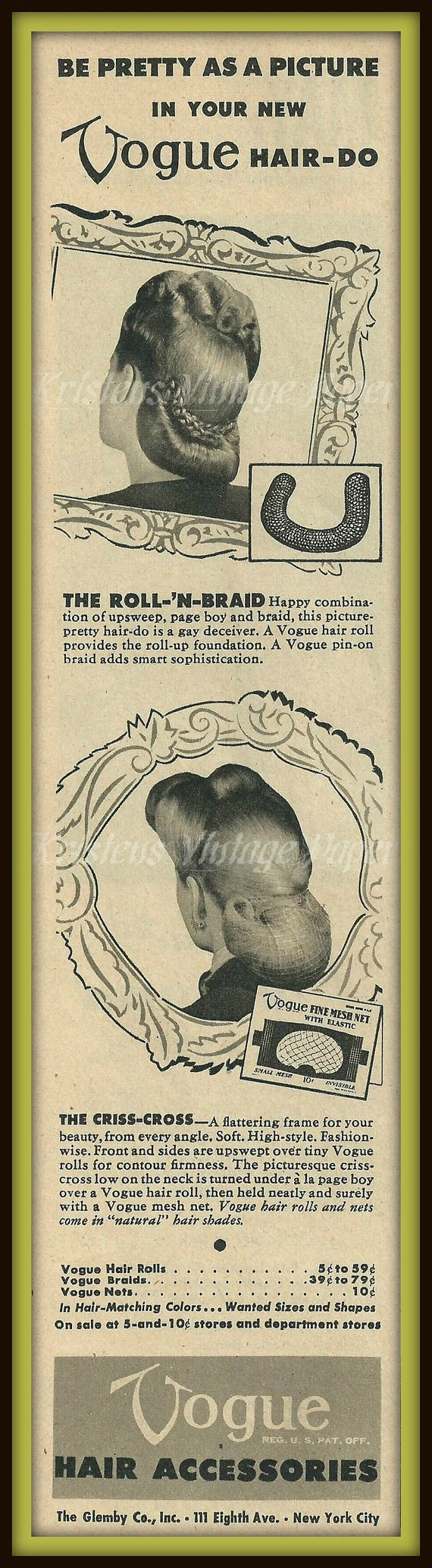 1945 Vintage Ad Vogue Hair Accessories Hairdo Hairstyle May Co Womens Fashion Bibber Jacket Wine Leaves Sportswear 1940s