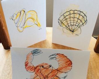 Seaside Trio Greetings Card Set