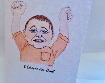3 Cheers For Dad Fathers Day Greetings Card