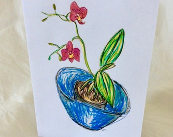 Orchid Flower Greetings Card