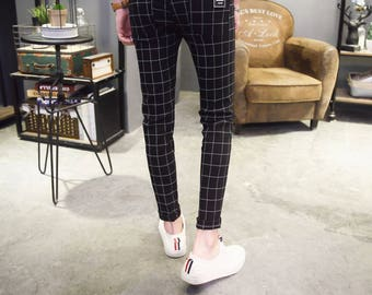 High Quality Casual Skinny Men's Pants Plaid Slim Male CITY FASHION Men  Business Trousers Elastic Jogger
