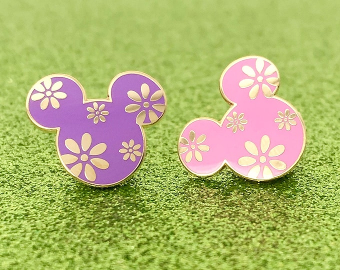 FLOWER POWER Mouse Enamel Pins (Purple/Pink)