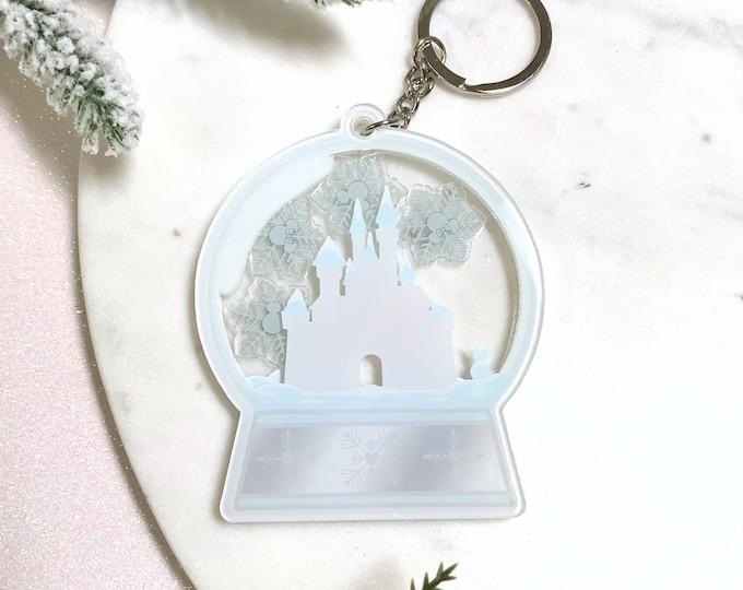Castle Snow Globe Shaker Keychain