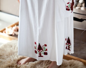 Gauze Cotton Skirt with Embroidery