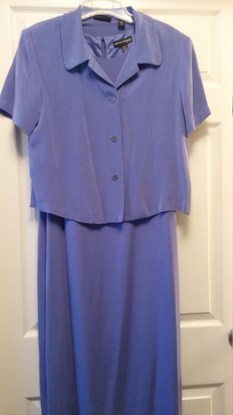 Vintage 1990s Iris Blue Sueded Silk Full Length Sheath Dress and Jacket