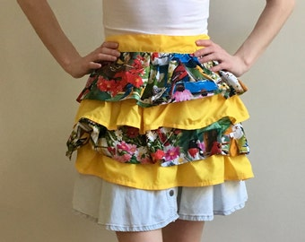 Pin Up Ruffle Apron, Bright Springtime Ruffled Half Apron with Birds / Floral and Sunny Yellow Ruffle Layers, Ties at Waist, Hostess, Party