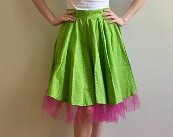 Pin Up Apron - Cute and flirty, full-skirted lime green and white polka dot apron with bright pink tulle ruffle