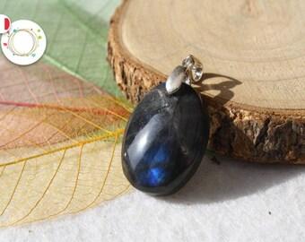 Pendant in true LABRADORITE, oval shape, intense blue, semi-precious stone