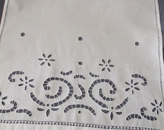 Antique lace and hand embroidery linen curtain breeze-view(-sight), tier at the time zone