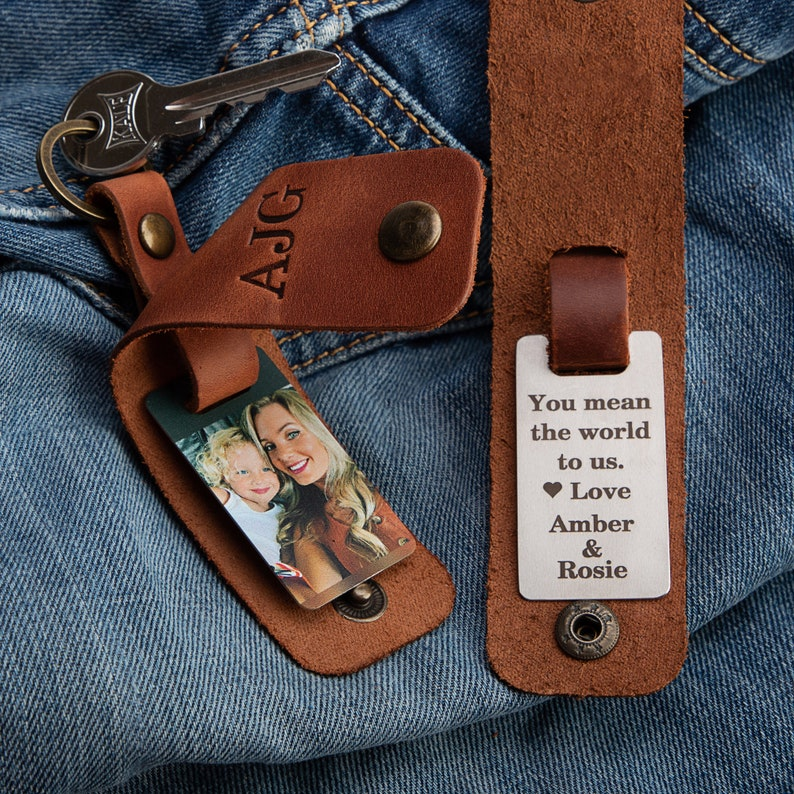 Personalized gift for him keychain for men Mens leather key image 0; father's day gift ideas