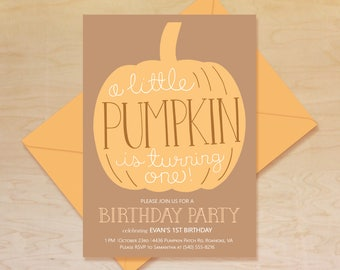 Pumpkin 1st Birthday Invitation First Autumn Theme Halloween