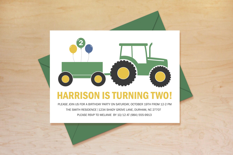 Tractor Birthday Invitation Tractor Invitation Green Tractor | Etsy