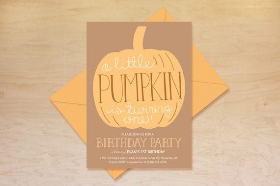 Pumpkin 1st Birthday Invitation First Birthday Invitation