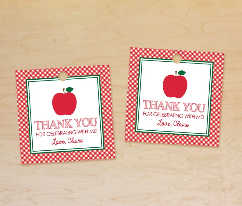 Apple Apple Thank You Tags, Apple Gift Tags, Apple Party Favor Tags, Apple  Birthday Theme, Apple Orchard Birthday Party, Fall Birthday