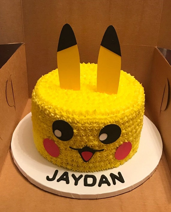 Groovy Pikachu Cake Topper Pokemon Birthday Etsy Personalised Birthday Cards Bromeletsinfo