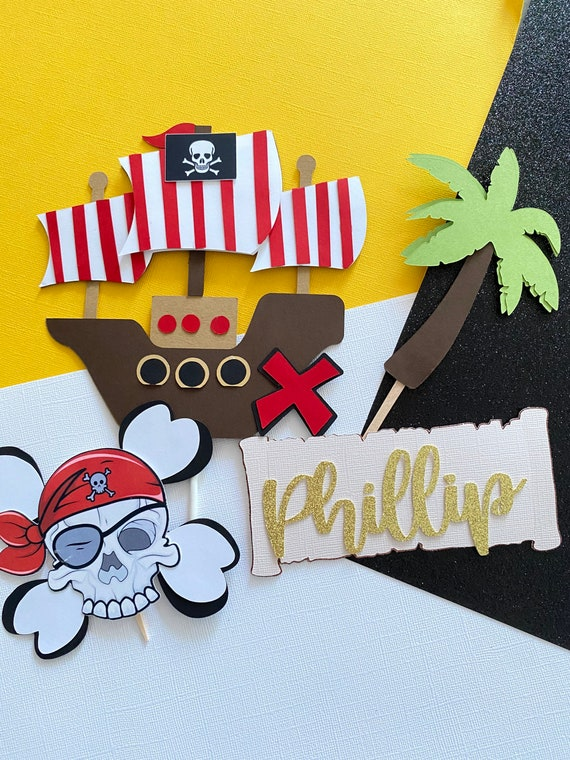 Black Geloar Pirate Birthday Party Decorations Pirate Theme Birthday Party Supplies Baby Shower Happy Birthday Banner Pirate Balloons Cake Topper for Boys Kids Children 1st 2nd 3rd 4th Birthday