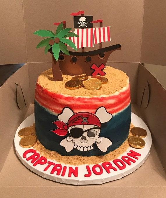 Vordas Welecoco 40 pi/èces Pirate Cake Topper Cupcake Picks Decoration Pirate Th/ème D/écoration de G/âteaux et 1 Pcs Banni/ère Drapeau Pirate Longueur 400cm