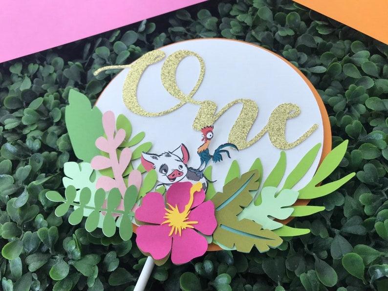 Moana Party Decor Moana Cake Topper Moana Birthday Floral Moana Moana Centerpiece Moana Theme