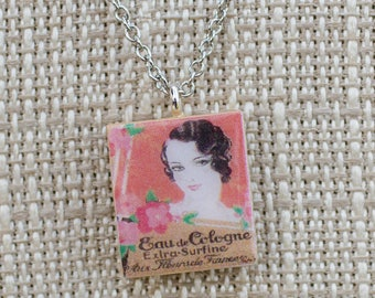 Vintage French Perfume ad Scrabble Tile Necklace reversible