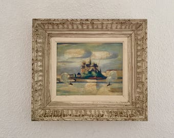Circa 1930-1950 - lovely painting oil representing Notre Dame de Paris from the Seine