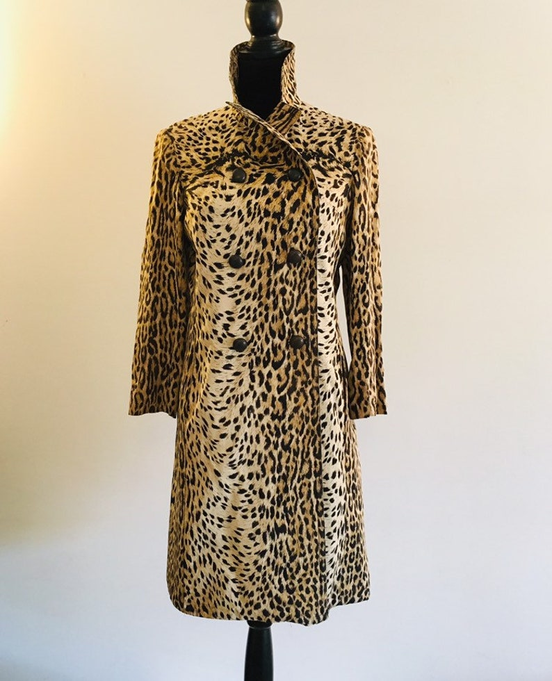 length and sleeves 34 typical 50s-60s-collector/'s! 1950-60 /'s-straight Leopard trench coat double-breasted